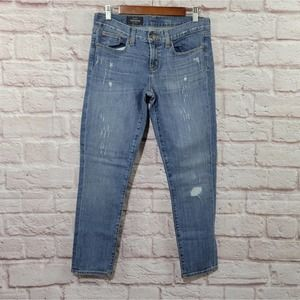 J. Crew Distressed Toothpick Ankle Skinny Jeans